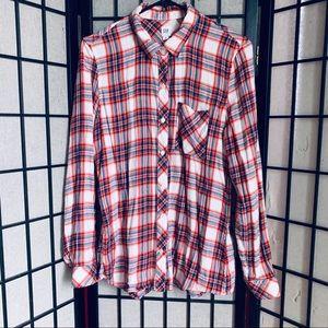 Gap multi color long sleeve flannel shirt sz M